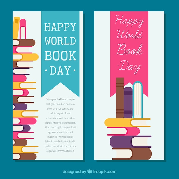 Bandeiras do dia do livro do mundo em design plano Vetor grátis