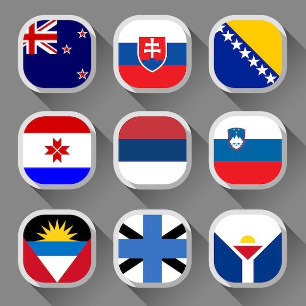 Bandeiras do mundo Vetor Premium