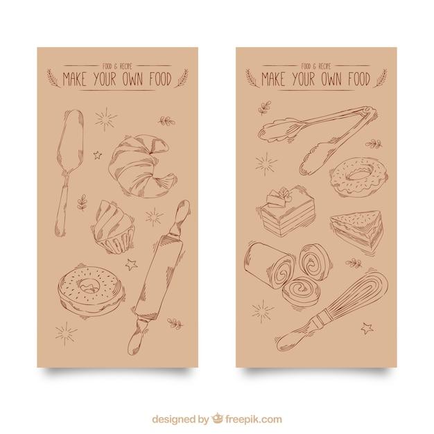 Bandeiras do vintage de itens de padaria mão desenhada Vetor grátis