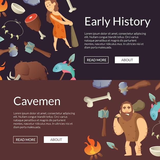 Bandeiras dos homens das cavernas do vetor e ilustração da idade da pedra do cartaz Vetor Premium