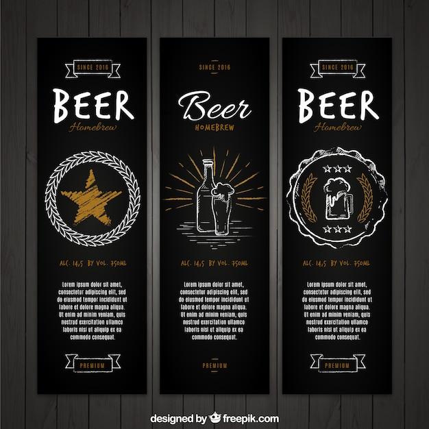 Bandeiras elegantes do vintage conjunto de cerveja Vetor grátis