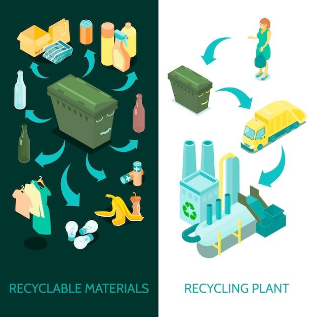 Bandeiras isométricas de reciclagem de lixo Vetor grátis