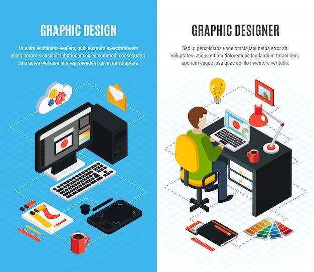 Bandeiras isométricas verticais definidas com ferramentas para design gráfico e designer no trabalho ilustração em vetor 3d isolada Vetor grátis
