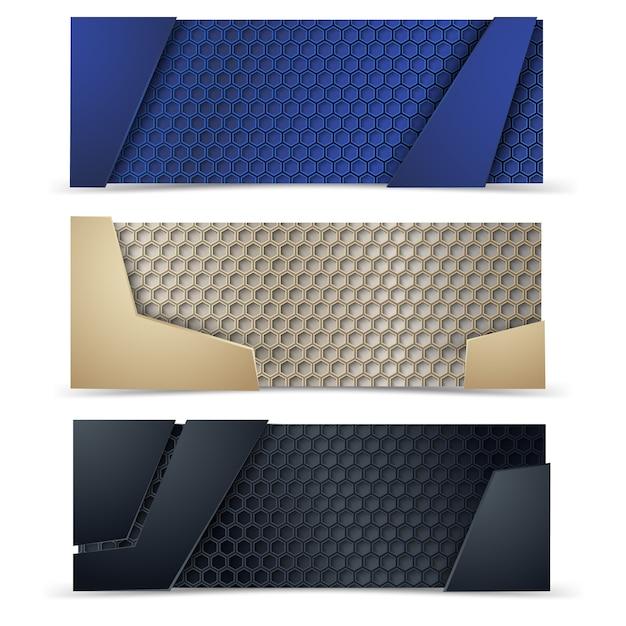 Bandeiras modernas do vetor ajustadas com textura do carbone. Vetor Premium