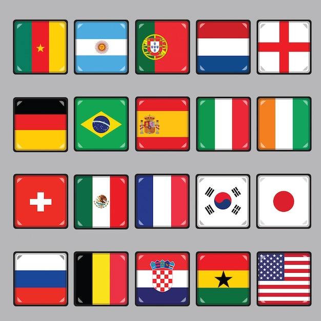 Bandeiras nacionais Vetor Premium