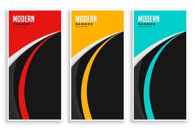 Bandeiras onduladas de curva abstrata definidas em três cores Vetor grátis