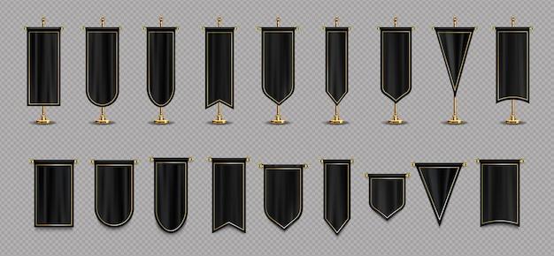 Bandeiras pendentes com maquete nas cores preta e dourada Vetor grátis
