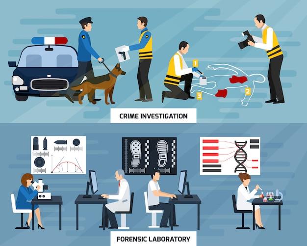 Bandeiras planas de investigação de crime Vetor grátis
