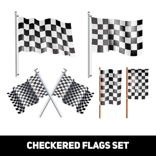 Bandeiras quadriculadas brancas e pretas no eixo e pólo cor realista conjunto de ícones decorativos Vetor grátis