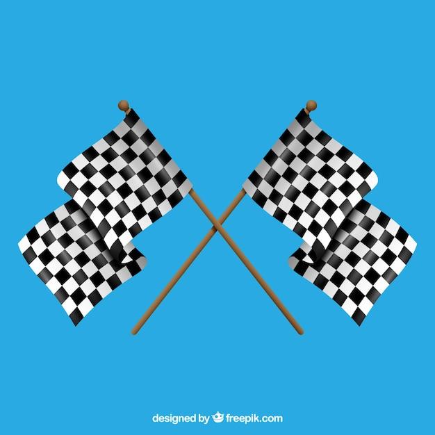 Bandeiras quadriculadas clássicas com design realista Vetor grátis