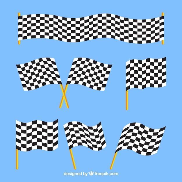 Bandeiras quadriculadas com design plano Vetor grátis