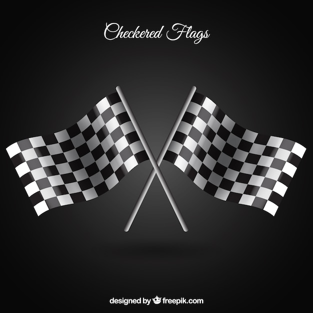 Bandeiras quadriculadas com estilo realista Vetor grátis