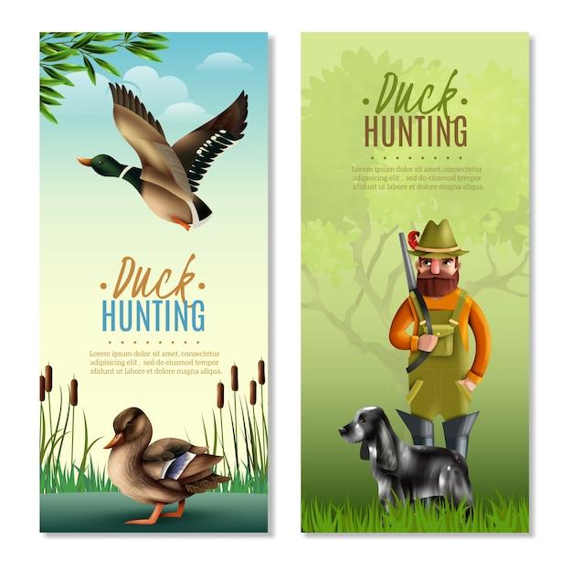Bandeiras verticais de caça ao pato Vetor grátis