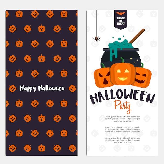 Bandeiras verticais planas de hallowen Vetor Premium