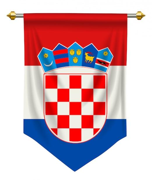 Bandeirola da croácia Vetor Premium