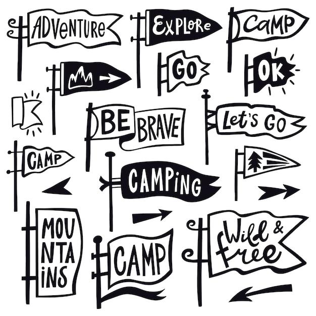 Bandeirola de caminhadas de aventura. mão desenhada acampamento bandeirola bandeira, vintage lettering sinalizadores, conjunto de ícones de ilustração de galhardetes de cotação turística. caminhadas e viagens ao ar livre com bandeirolas, explore o emblema Vetor Premium