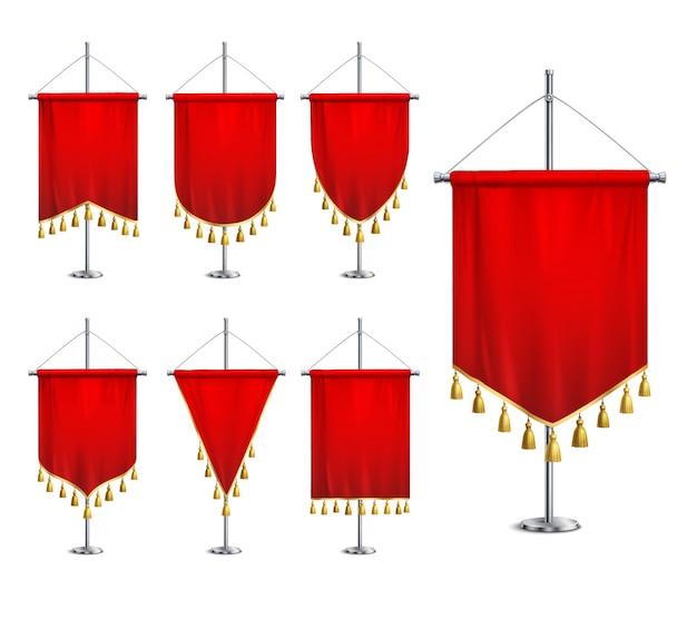Bandeirolas vermelhas de várias formas com franja de borla dourada no conjunto realista de pedestal de pináculo de aço Vetor grátis