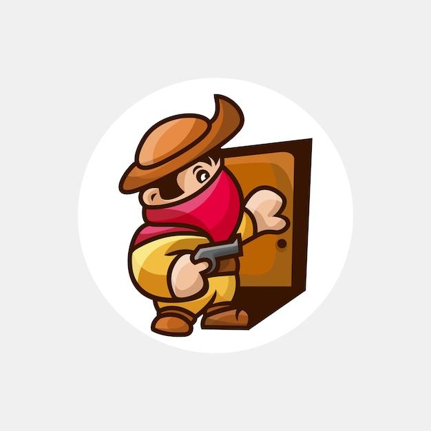 Bandido com personagem de arma Vetor Premium