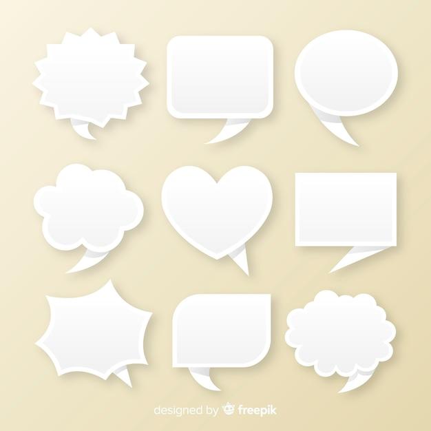 Bando de bolhas do discurso estilo de papel plana Vetor grátis