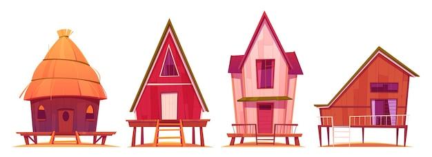 Bangalôs, casas de veraneio em estacas com terraço, edifícios privados de madeira, vilas, hotel, casas residenciais de chalés, apartamentos, propriedade viva, ilustração vetorial de desenhos animados, conjunto de ícones isolados Vetor grátis