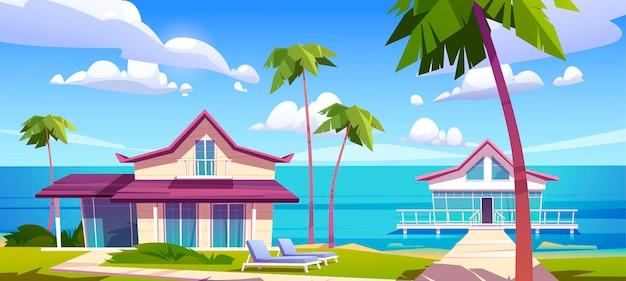 Bangalôs modernos em uma praia de resort em ilha, paisagem tropical de verão com casas sobre estacas com terraço, palmeiras e vista para o mar. villas, hotéis ou chalés privados de madeira, ilustração vetorial de desenho animado Vetor grátis