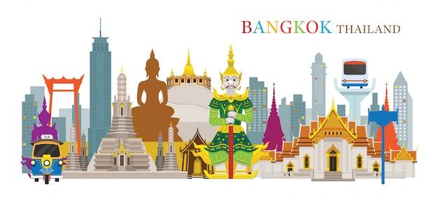 Bangkok, tailândia e pontos de referência, atração de viagens, cena urbana Vetor Premium