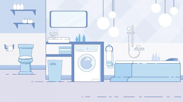 Banheiro com vaso sanitário moderno inferior plana vector Vetor Premium