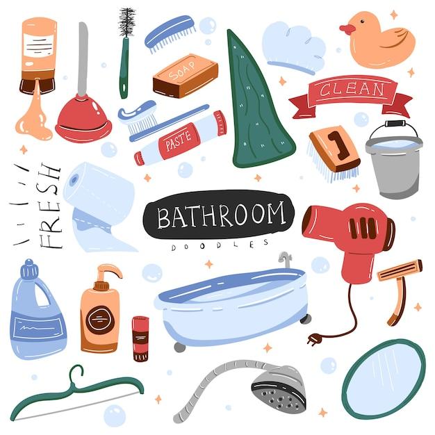 Banheiro doodle colorido Vetor Premium
