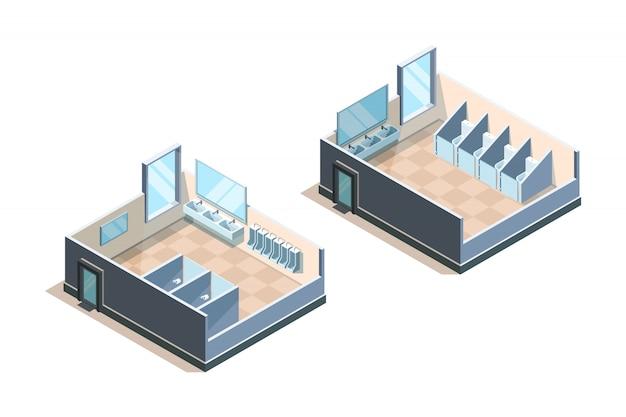 Banheiro público. banheiro isométrico para ilustrações de pia moderna de pessoas masculinas e femininas Vetor Premium