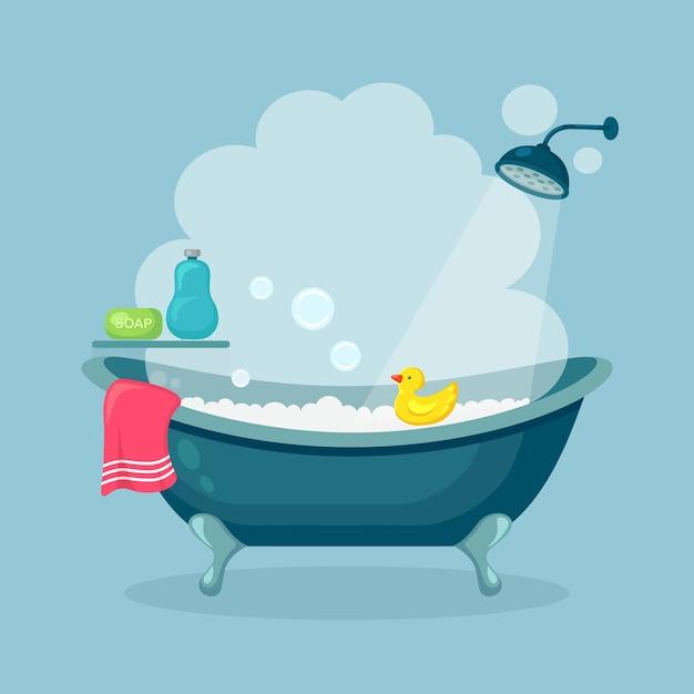 Banho cheio de espuma com bolhas isoladas no fundo. interior do banheiro. torneiras de duche, sabonete, banheira, pato de borracha e toalha rosa. equipamento confortável para banho e relaxamento. design plano Vetor Premium
