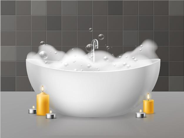 Banho com espuma. Vetor Premium