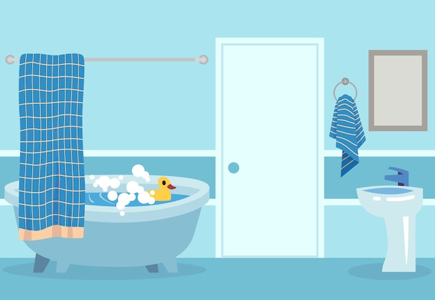 Banho de desenho animado. chuveiro quente branco fofo e banheira com bolhas e brinquedo dentro do banheiro isolado ilustração relaxante do quarto Vetor Premium