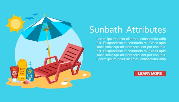 Banho de sol verão férias férias modelo de banner Vetor Premium