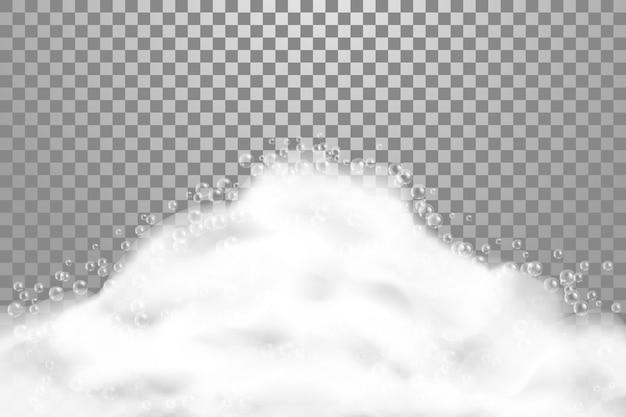 Banho ensaboar illustrarion realista sobre fundo transparente. espuma de sabão com bolhas de xampu, textura de espuma, ilustração Vetor Premium