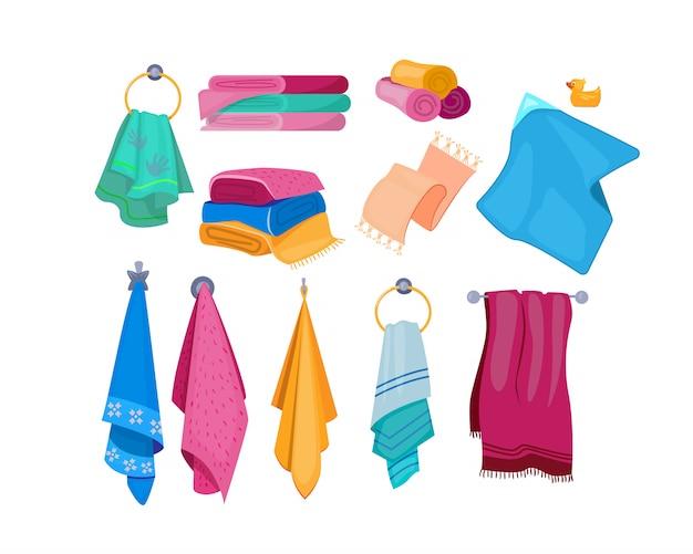Banho, praia, conjunto de toalhas de cozinha Vetor grátis