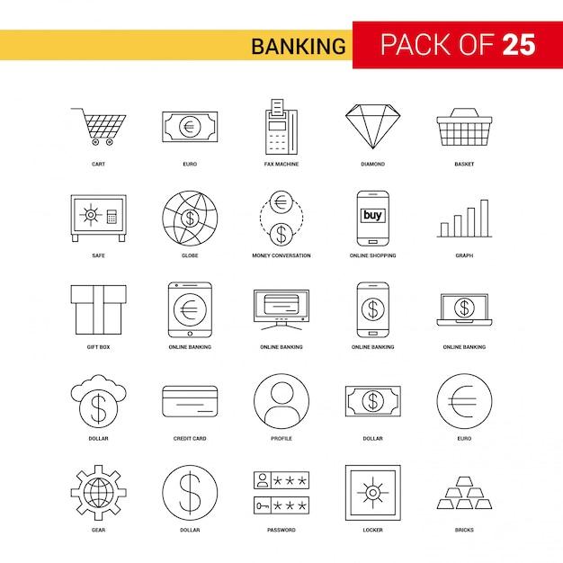 Banking black line icon - 25 conjunto de ícones de contorno de negócios Vetor grátis