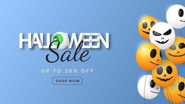 Banner 3d de venda de halloween com balão em fundo azul Vetor Premium
