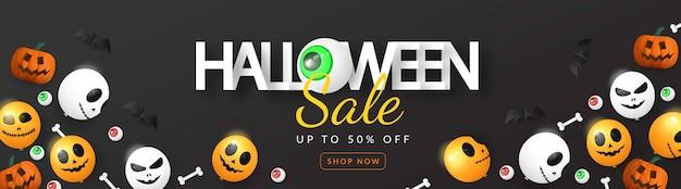 Banner 3d de venda de halloween com balão, olho, abóbora e osso Vetor Premium