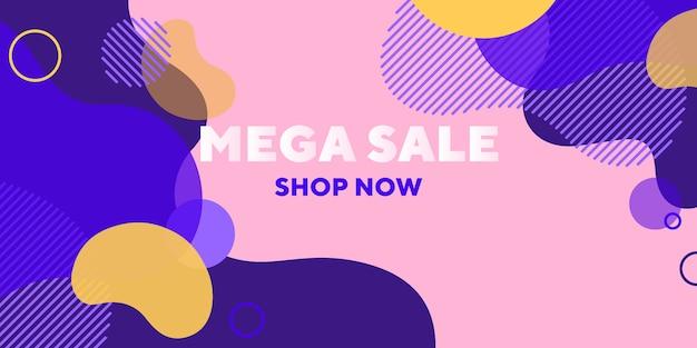 Banner abstrato de mega venda com formas sobrepostas Vetor grátis