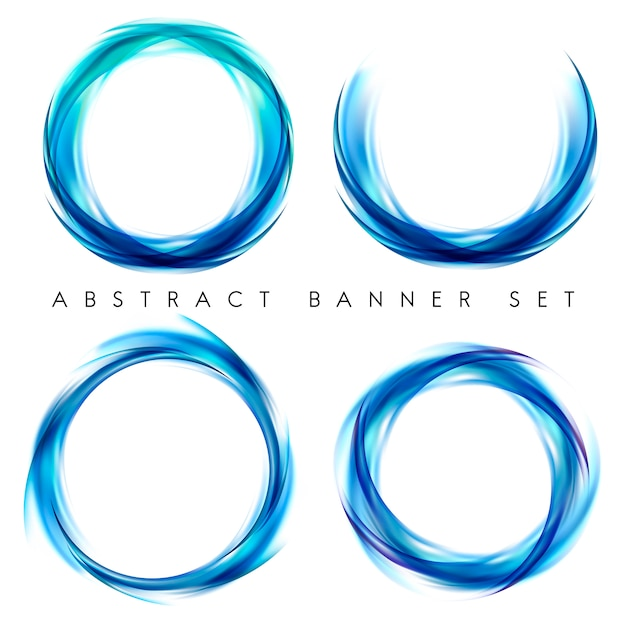 Banner abstrato definido em azul Vetor grátis