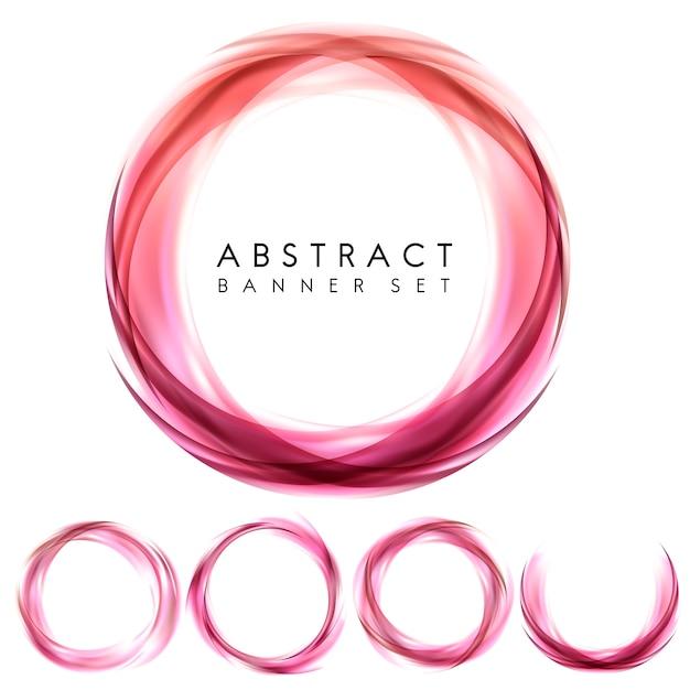 Banner abstrato definido em rosa Vetor grátis
