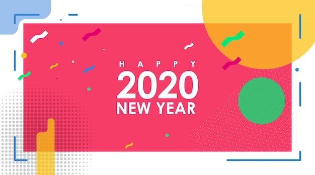 Banner abstrato moderno de feliz ano novo 2020 com vetor plana Vetor Premium