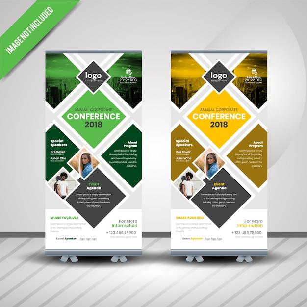 Banner acumulado de conferência Vetor Premium