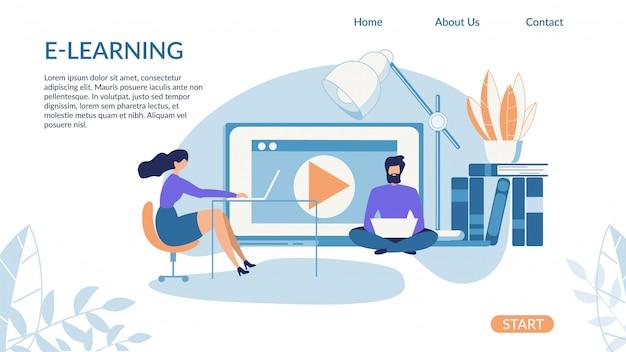 Banner brilhante inscrição e-learning cartoon Vetor Premium