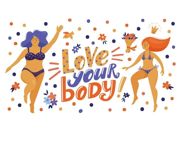 Banner, cartão postal com letras love your body e mulheres muito engraçadas em biquíni Vetor Premium