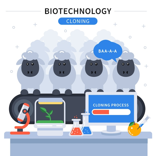 Banner colorido de biotecnologia Vetor grátis