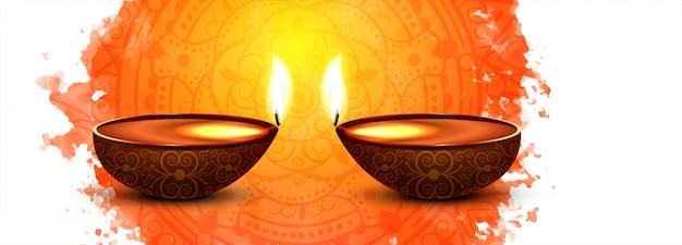 Banner colorido de celebração do festival de diwali ou cabeçalho Vetor grátis
