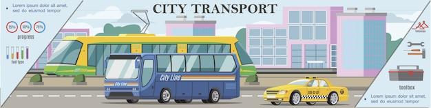 Banner colorido de transporte urbano plano com ônibus e táxi, movendo-se na estrada Vetor grátis