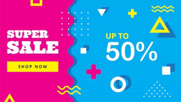 Banner colorido venda Vetor Premium