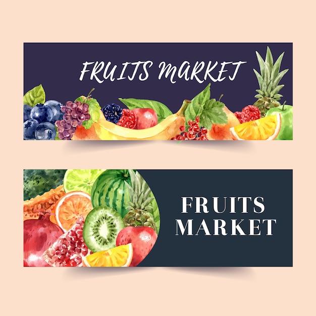 Banner com aquarela de tema de frutas com modelo de ilustração de elementos. Vetor grátis
